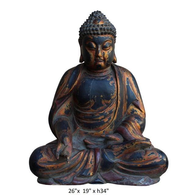 Chinese Golden Brown Wooden Meditation Sitting Buddha Statue
