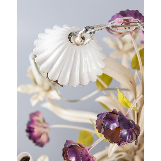 Purple Vintage Mid-Century Italian Tole Poppies Six Arm Chandelier For Sale - Image 8 of 11