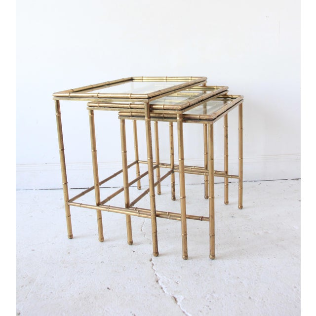 Vintage Brass Faux Bamboo Nesting Tables - Set of 3 For Sale - Image 4 of 9
