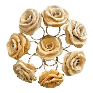 Gold Mesh Rose Napkin Rings - Set of 8 For Sale