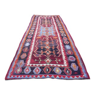 Vintage Turkish Kilim Runner With Geometric Shapes For Sale