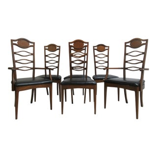 Italian Regency High Ladder Back Dining Room Side Arm Chairs - Set of 6 For Sale