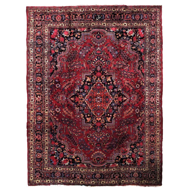 1910s handmade antique Persian Mashad rug 10.2' x 13.9' For Sale - Image 11 of 11