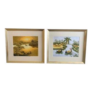 Asian Themed Framed Crewel Artwork - a Pair For Sale