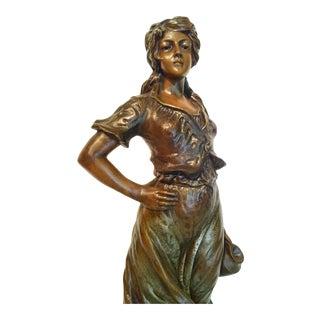 Art Nouveau 19in Statue Beautiful Proud Woman For Sale