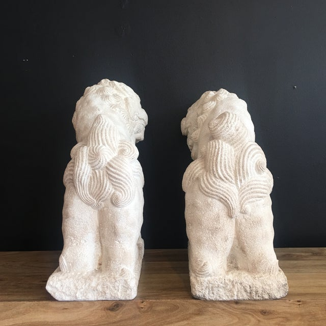 Large Heavy Plaster Male & Female Foo Dog Statues For Sale - Image 9 of 10