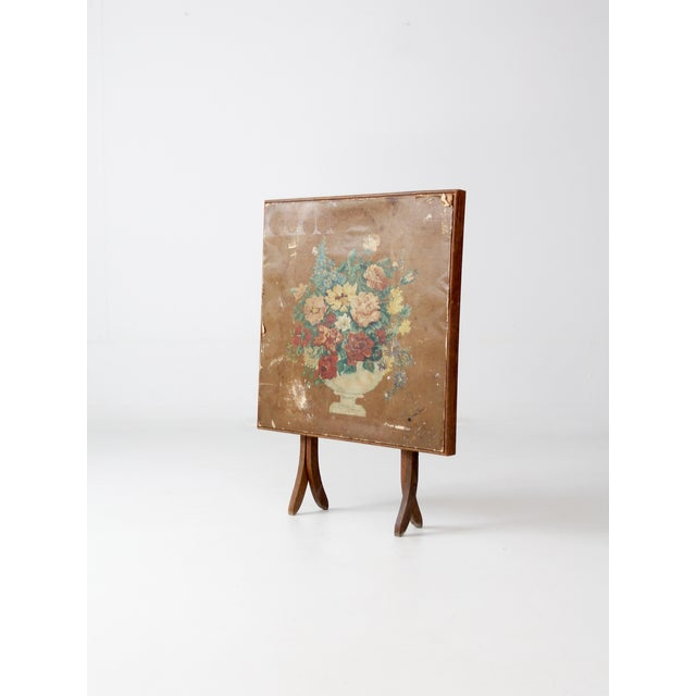 Cottage Vintage Floral Folding Table For Sale - Image 3 of 10