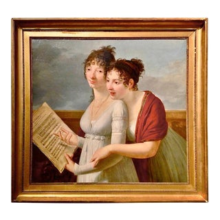 Empire Portrait of Julie and Desire Clary Painting by Robert Lefevre, 1805 For Sale