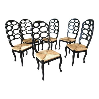 Set of Six Loop Back Dining Chairs in the Manner of Frances Elkins For Sale