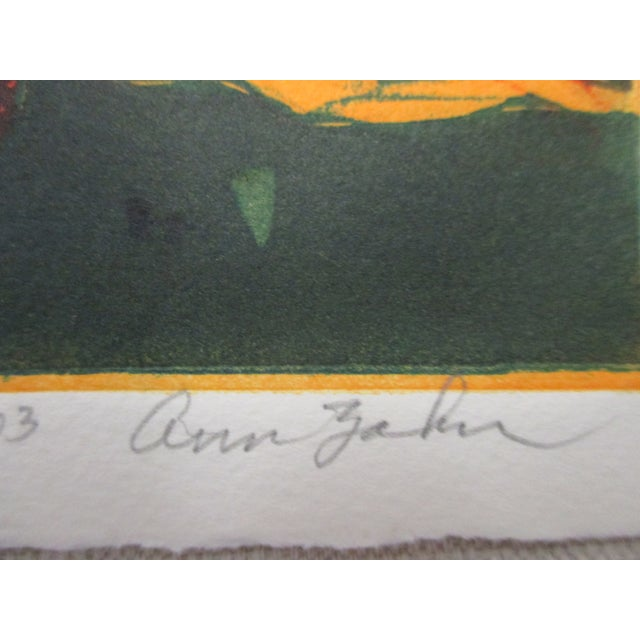 Vintage Lithograph Titled: Galapagos Tortoises Signed by Artist: Ann Zahn Signed Numbered 9/80 Size: 8.5 x 9 x 0.03