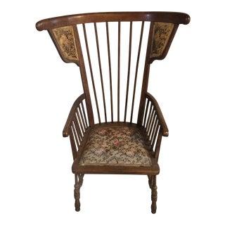 Austrian Walnut Barrel Back Chair For Sale
