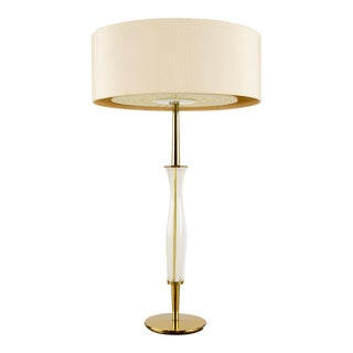 Lightolier Style Brass and Glass Table Lamp For Sale