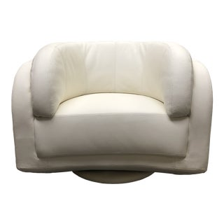 W.Schillig White Leather Arabesque Swivel Chair For Sale