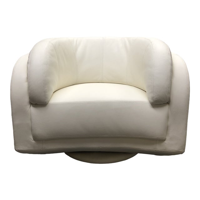Incredible W Schillig White Leather Arabesque Swivel Chair Squirreltailoven Fun Painted Chair Ideas Images Squirreltailovenorg