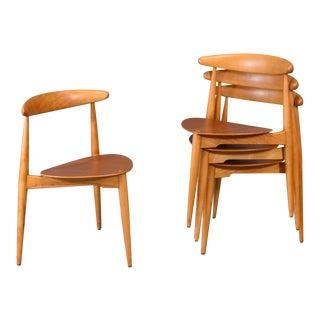 Set of Four Hans Wegner Heart Chairs For Sale