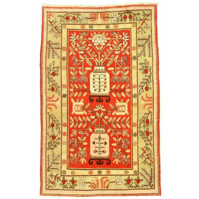 1920s Early 20th Century Antique Khotan Wool Rug - 5′6″ × 8′10″ For Sale - Image 5 of 5