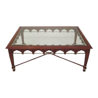 1990s Vintage John Widdicomb Gothic Regency Style Coffee Table For Sale