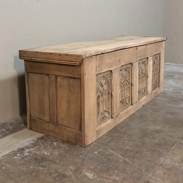 Trunk, 19th Century Rustic Gothic in Stripped Oak For Sale - Image 4 of 12