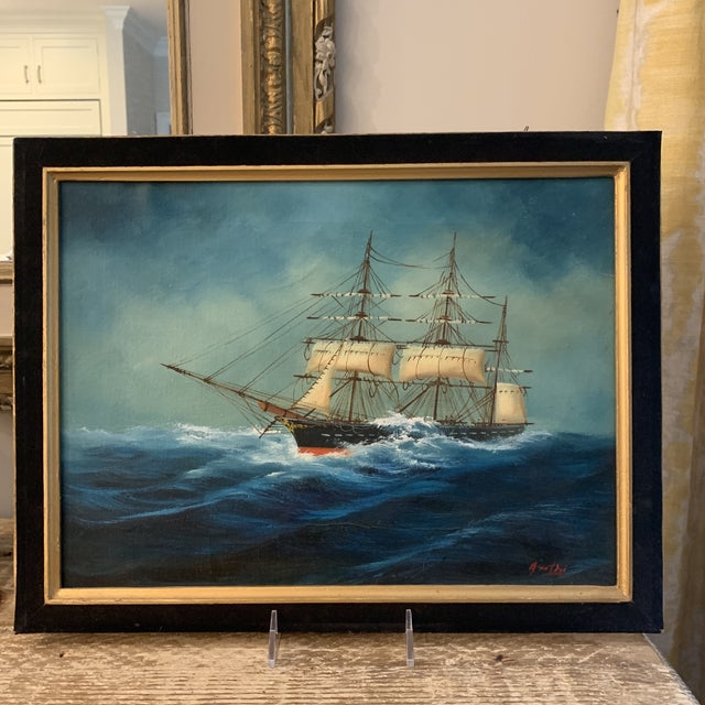 Textile Midcentury Oil Seascape Painting of a Sailing Ship For Sale - Image 7 of 7