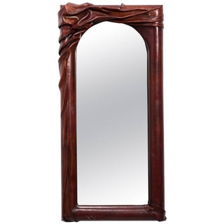 Sculptural Leather Wall Mirror For Sale
