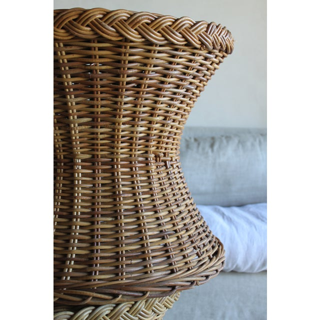 Vintage Mid Century the Wicker Works Rattan Handwoven High End Tulip Side Tables Franco Albini Gabriella Crespi Style - a Pair For Sale - Image 10 of 12
