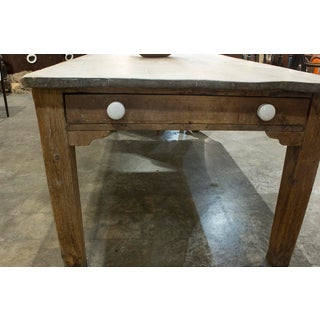 English Scrubbed Table With One Drawer and Porcelain Knobs Preview