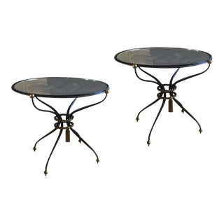 Pair of Gilbert Poillerat Attributed Refined Wrought Iron Coffee Table For Sale