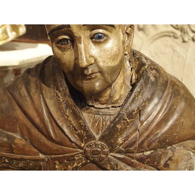 Large Antique Polychromed Wood Statue of a Bishop, Circa 1650 For Sale - Image 10 of 12