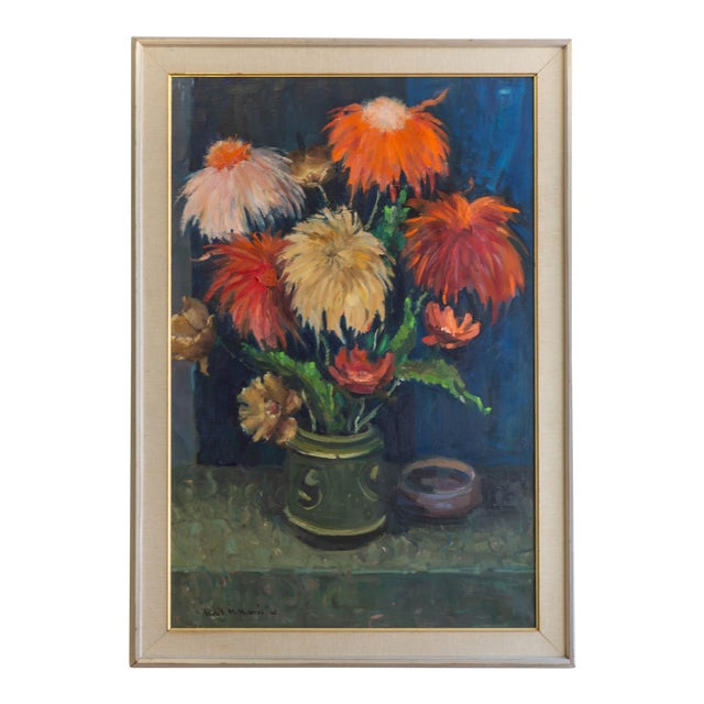 1962 Signed Still Life Oil Painting of Flowers For Sale