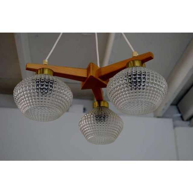 Mid-Century Teak Brass & Glass 3 Arm Chandelier For Sale - Image 4 of 8