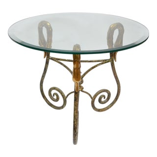 Italian Wrought Iron Side Table With Brass Swan Heads For Sale