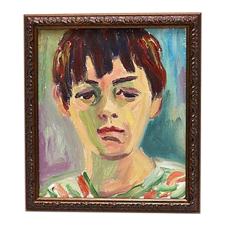 1950s French Oil Portrait of a Boy