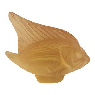 1980s Vintage Lalique Angel Fish in Lemon For Sale