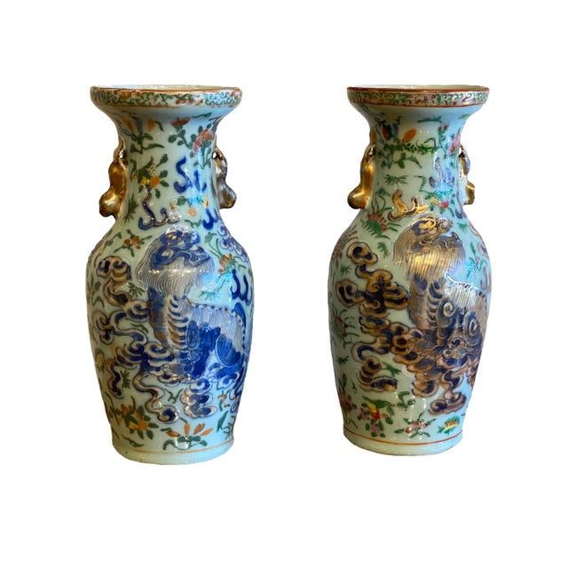 Blue 19th Century Antique Chinese Foo Lions Vases-a Pair For Sale - Image 8 of 8