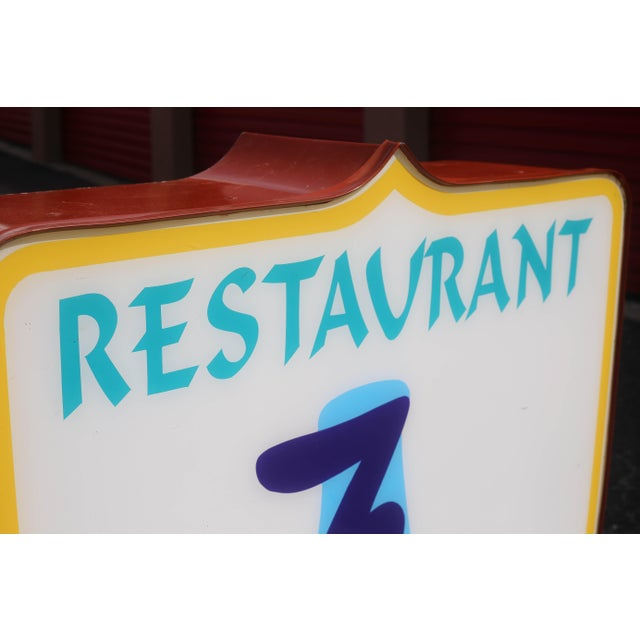 1970s Vintage Illuminated Commercial Sign From 3 Wishes Restaurant and Lounge For Sale - Image 5 of 12