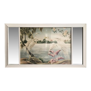 Turner Airbrush Cranes Hawaiian in Original Double Mirror Frame For Sale