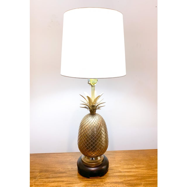 Mid-Century Modern 1960s Frederick Cooper Brass Pineapple Table Lamp For Sale - Image 3 of 10