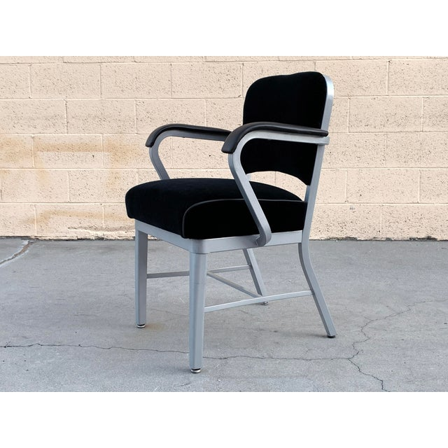 1950s Mid Century Steel Tanker Armchair, Refinished in Bengal Silver and Black Velve For Sale - Image 5 of 7
