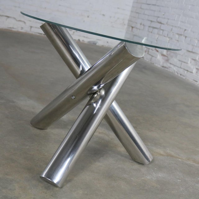 Milo Baughman Tubular Stainless-Steel Jacks Tripod End Table Round Glass Top Style of Milo Baughman For Sale - Image 4 of 13