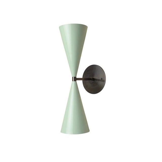 Mid-Century Modern Tuxedo Wall Sconce in Oil-Rubbed Bronze & Mint Green Enamel, Blueprint Lighting For Sale - Image 3 of 5