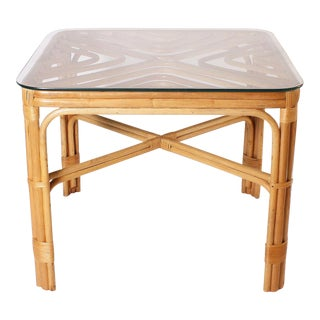 Brown Jordan Rattan Table, C. 1960 For Sale