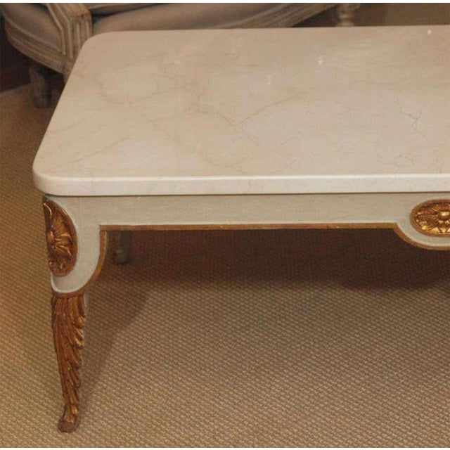Hollywood Regency Regency Style Coffee Table With White Marble Top For Sale - Image 3 of 8