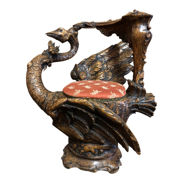 19th Century Venetian Hand Carved Swan Grotto Chair For Sale