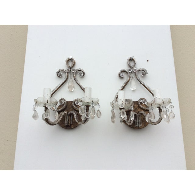 Traditional Rock Crystal Silvered & Beaded Metal Sconces - A Pair For Sale - Image 3 of 8