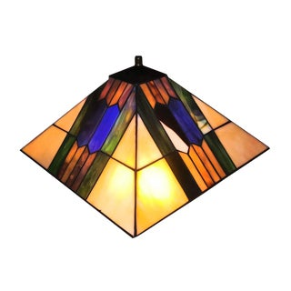 Dale Mission Arts and Crafts Jewel Toned and Amber Tiffany Square Shaped Lampshade For Sale