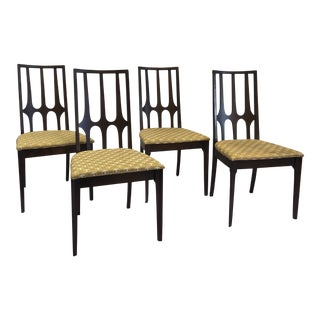 Original Broyhill Brasilia High-Back Walnut Dining Chairs - Set of 4 For Sale