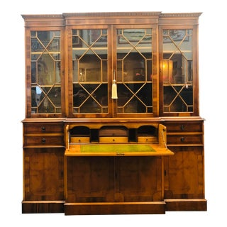 Antique Chippendale Rolls-Royce Style Library Bookcase With Secretary For Sale