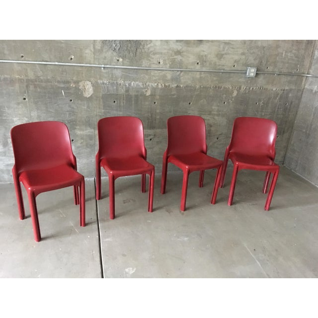 Red 1980s Vintage Vico Magistretti Stacking Chairs- Set of 4 For Sale - Image 8 of 8