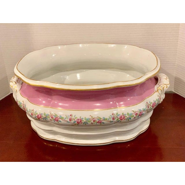 Ceramic 19th Century Pink Floral Porcelain Foot Bath, Attributed to Mintons For Sale - Image 7 of 12