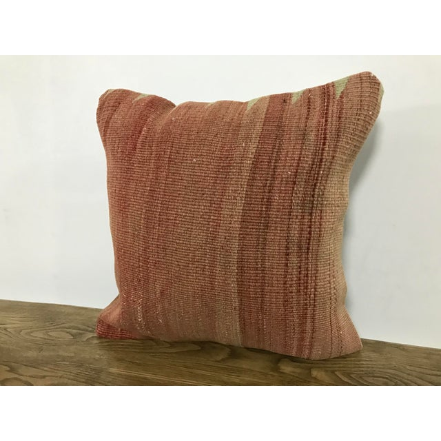 Boho Chic Turkish Faded Hand Woven Sofa Kilim Pillow For Sale - Image 3 of 6